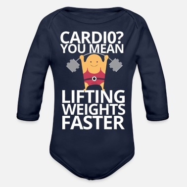 weights and cardio - Organic Long-Sleeved Baby Bodysuit