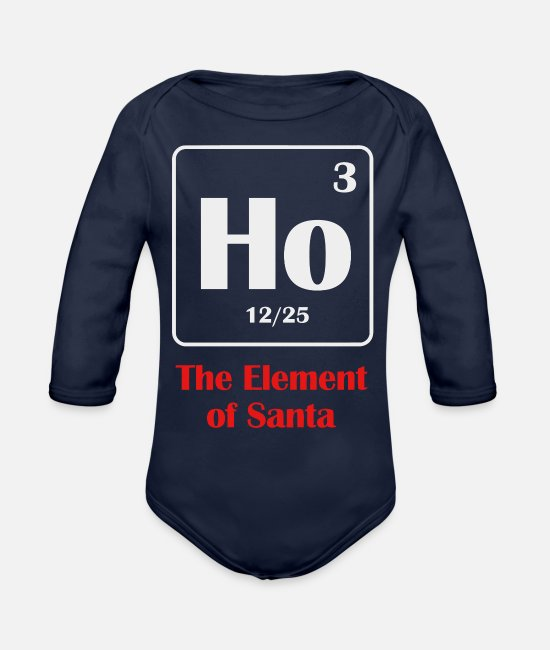 Therapy Baby One Pieces - the element of santa - Organic Long-Sleeved Baby Bodysuit dark navy