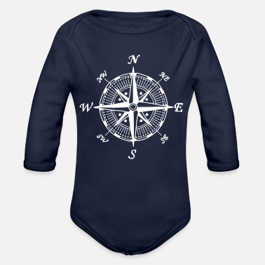 Compass compass - Organic Long-Sleeved Baby Bodysuit