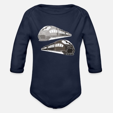 Training Trains train - Organic Long-Sleeved Baby Bodysuit