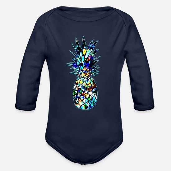 Floral Baby Clothing - Pineapple Flower Abstract art - Tropical Summer - Organic Long-Sleeved Baby Bodysuit dark navy