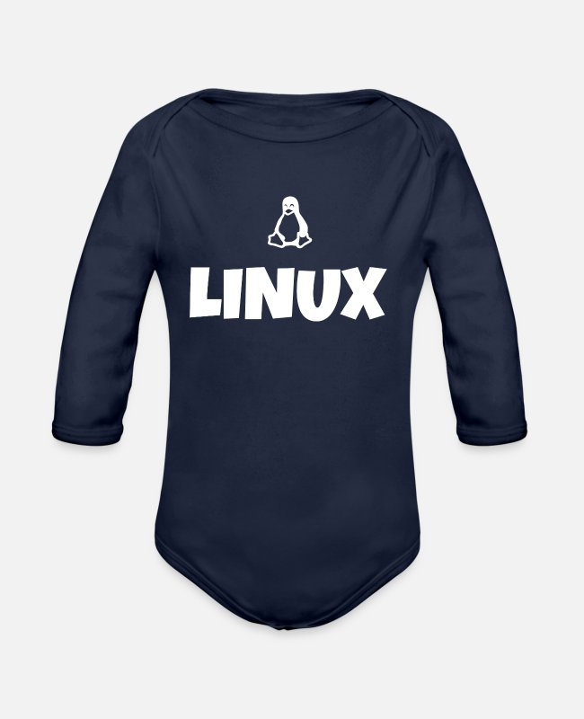 Coder Baby One Pieces - Linux tux penguin obama poster - Organic Long-Sleeved Baby Bodysuit dark navy