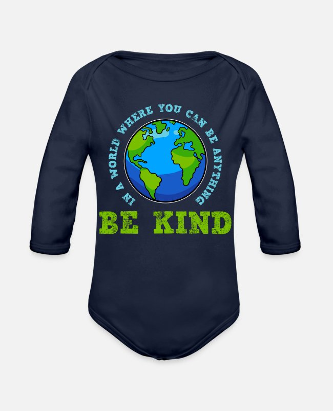 Anti-bullying Baby One Pieces - Be Kind Kindness - Organic Long-Sleeved Baby Bodysuit dark navy