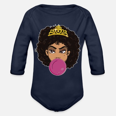 Joy Bubblegum Poppin Black Queen Black Girl Magic Afro - Organic Long-Sleeved Baby Bodysuit