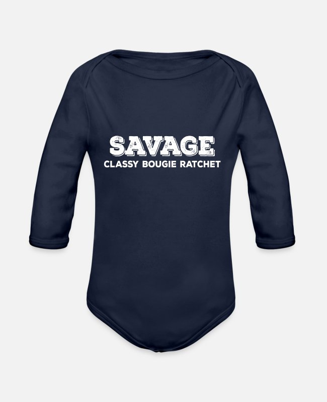 Mummy Baby One Pieces - savage classy bougie ratchet - Organic Long-Sleeved Baby Bodysuit dark navy