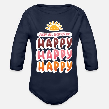 Happiness Happy, Happy, Happy - Organic Long-Sleeved Baby Bodysuit
