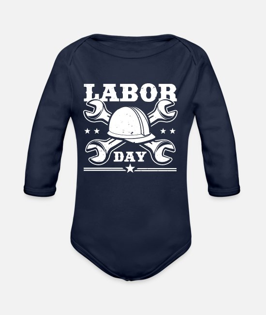 Usa Baby One Pieces - Labor Day - Organic Long-Sleeved Baby Bodysuit dark navy