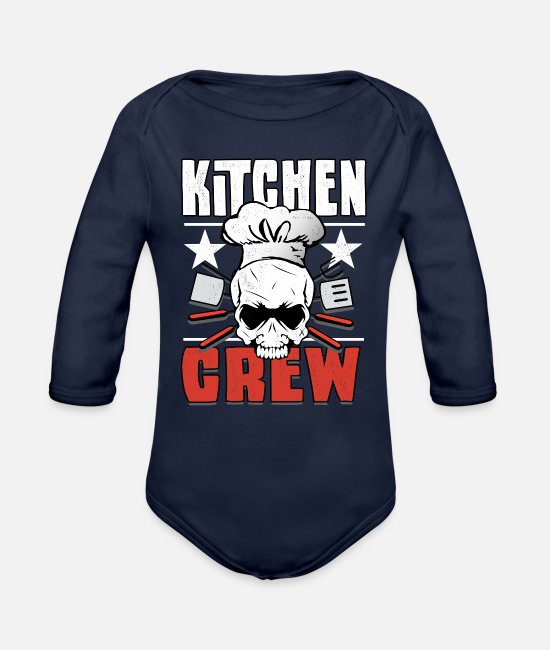 Make Food Baby One Pieces - Being a Chef is cooking awesome - Organic Long-Sleeved Baby Bodysuit dark navy