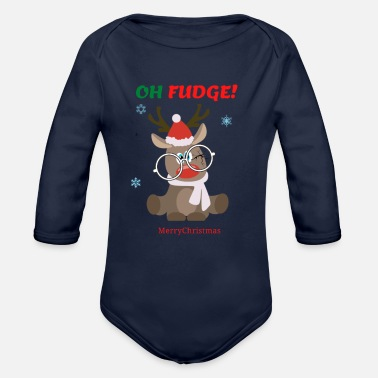 Oh Fudge Funny Christmas saying - Organic Long-Sleeved Baby Bodysuit