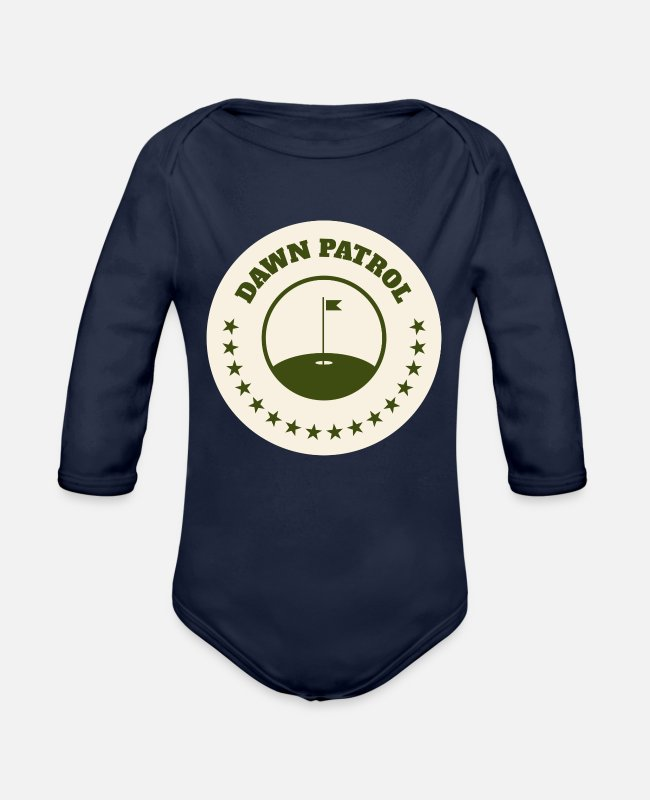 Play Baby One Pieces - Dawn Patrol Golf Golfer Cart Funny Gift Idea - Organic Long-Sleeved Baby Bodysuit dark navy