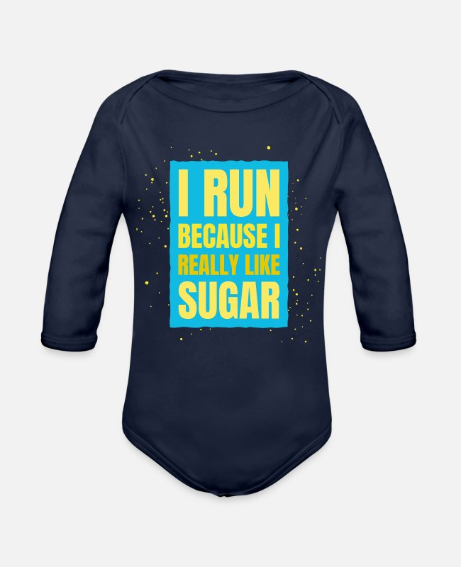 Apparel Baby One Pieces - Runner Run Marathon Funny Jogger Sport Gift Idea - Organic Long-Sleeved Baby Bodysuit dark navy