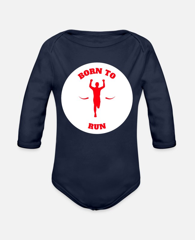Runner Baby One Pieces - Jogging Marathon Runner Funny Shirt Gift Idea - Organic Long-Sleeved Baby Bodysuit dark navy