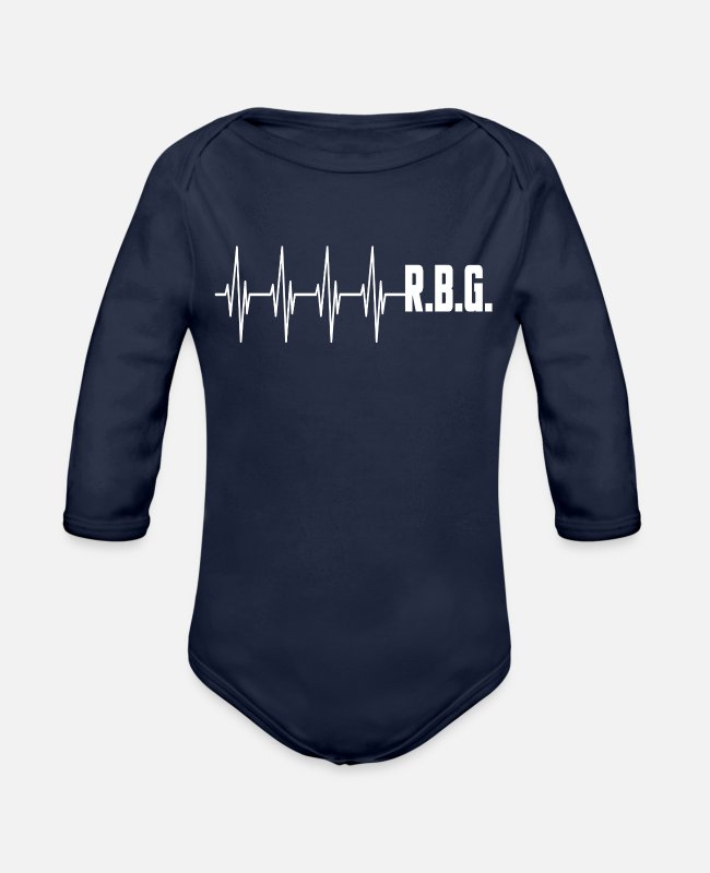 Apparel Baby One Pieces - RBG Ruth Bader Ginsburg Civil Political Feminist - Organic Long-Sleeved Baby Bodysuit dark navy