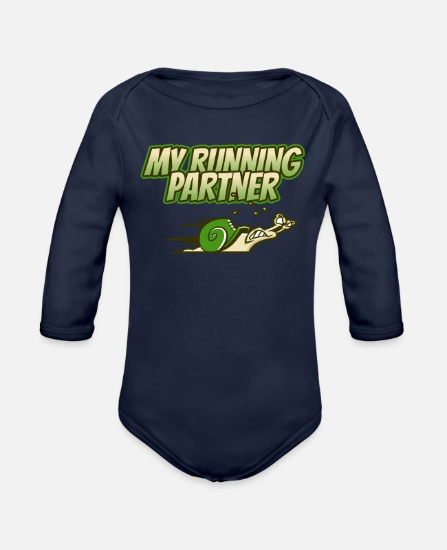 Runner Baby One Pieces - Running Partner Jogger Marathon Cardio Gift - Organic Long-Sleeved Baby Bodysuit dark navy