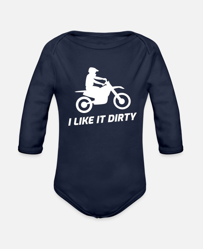 Quad Baby One Pieces - Motocross Dirt Bike - Organic Long-Sleeved Baby Bodysuit dark navy
