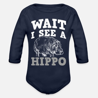 Grass Perfect Hippo Design Quote I See A Hippo - Organic Long-Sleeved Baby Bodysuit