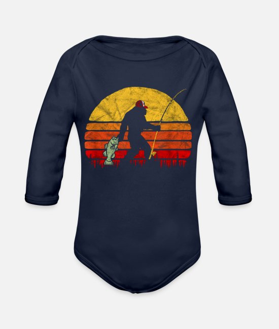 Bass Baby One Pieces - Bass Fishing Bigfoot In Trucker Hat Retro Funny - Organic Long-Sleeved Baby Bodysuit dark navy