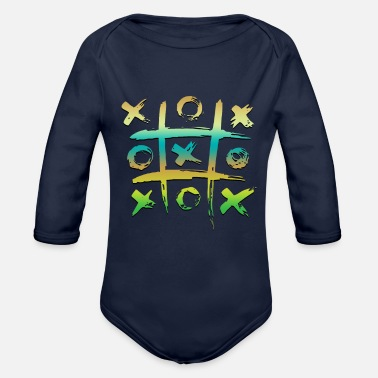 Greenpeace TIC TAC TOE color green - Organic Long-Sleeved Baby Bodysuit