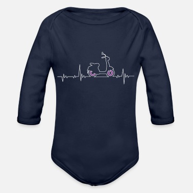 Scooter Scooter e-scooter scooter heartbeat pulse line - Organic Long-Sleeved Baby Bodysuit