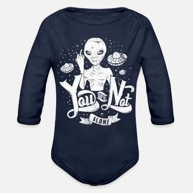 Ufo Aliens and UFO - Organic Long-Sleeved Baby Bodysuit