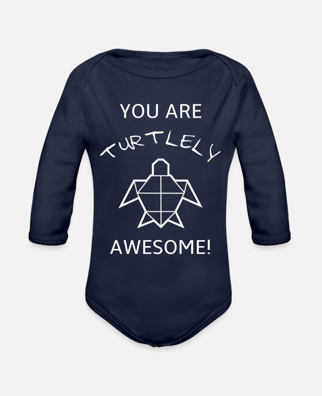 Origami Baby One Pieces - Funny and sweet turle Pun T-shirt design - Organic Long-Sleeved Baby Bodysuit dark navy