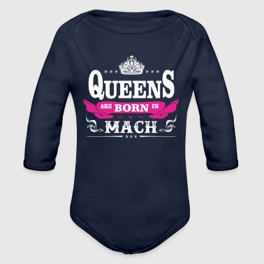 birthday march queen are born in march - Organic Long Sleeve Baby Bodysuit
