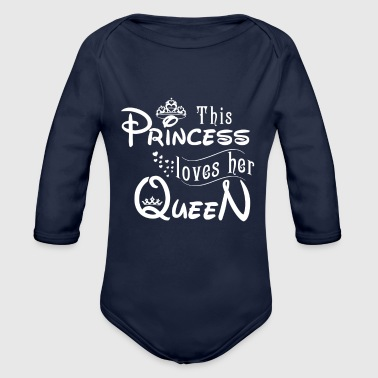 this princess loves her queen - Organic Long Sleeve Baby Bodysuit