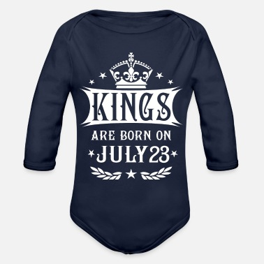 Born In Kings Are Born On July 23 - Organic Long Sleeve Baby Bodysuit