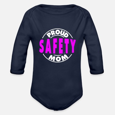 Womens Football Mom Safety Proud Football Mom Design - Organic Long-Sleeved Baby Bodysuit