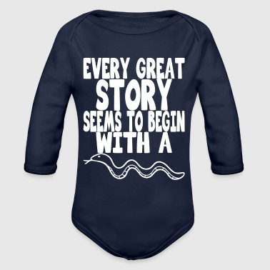 Kara every great story seems to begin with a snake - Organic Long Sleeve Baby Bodysuit