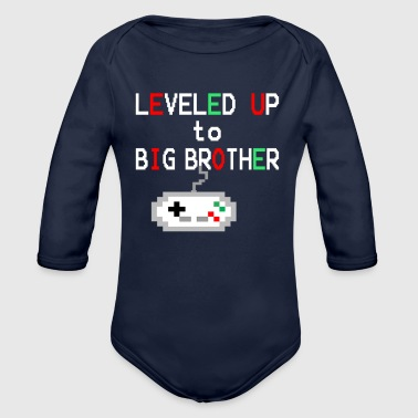 Gamer Big Brother Announcement Level Up - Organic Long Sleeve Baby Bodysuit