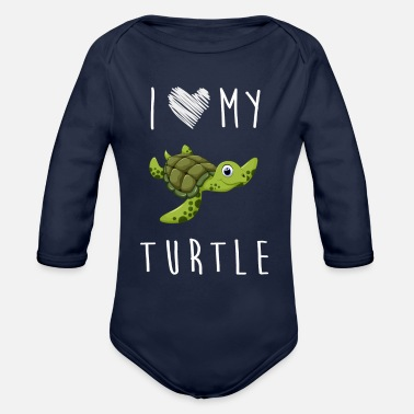 Long I Love My Turtle, Best Gift Shirts - Organic Long Sleeve Baby Bodysuit