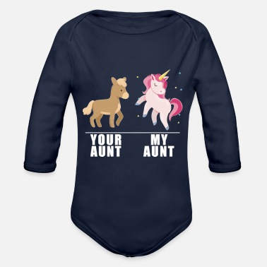 Aunt Your Aunt My Aunt Unicorn - Organic Long-Sleeved Baby Bodysuit