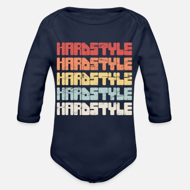 Hardstyle Vintage HARDSTYLE Music Text - Organic Long Sleeve Baby Bodysuit
