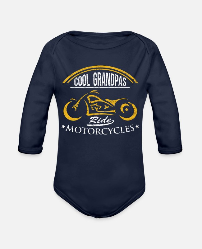 Father's Day Baby One Pieces - Biker Motorcycle Rider Cool Grandpas ride motorcycles - Organic Long-Sleeved Baby Bodysuit dark navy