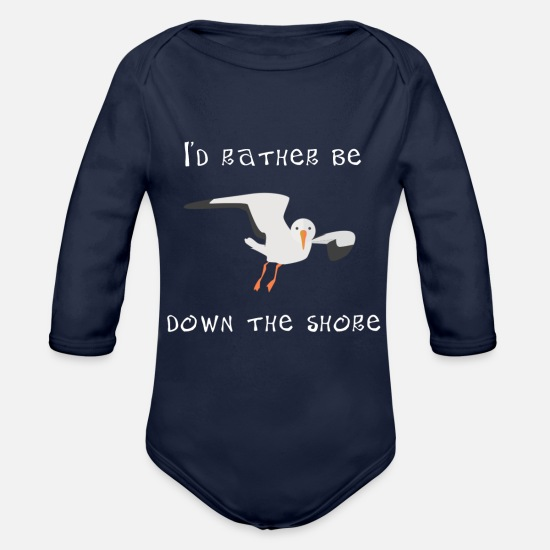 Shore Baby Clothing - Beach I'd Rather Be Down the Shore Jersey Shore - Organic Long-Sleeved Baby Bodysuit dark navy