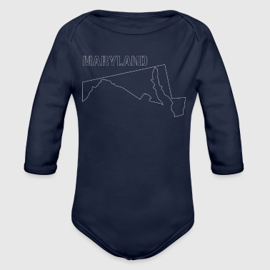 State of Maryland State Shaped Map - Organic Long Sleeve Baby Bodysuit