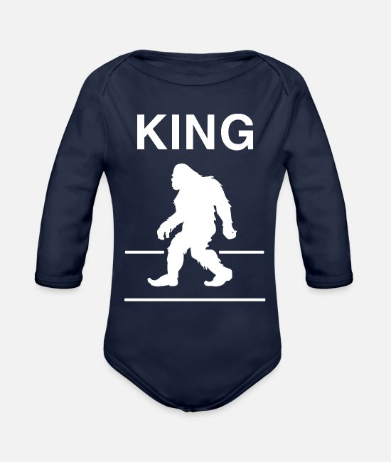 Nice Outfits For Thanksgiving Baby One Pieces - Funny King Bigfoot T-shirt - Organic Long-Sleeved Baby Bodysuit dark navy