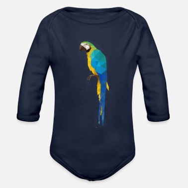 Animals Macaw, parrot polygon geometric - Organic Long-Sleeved Baby Bodysuit
