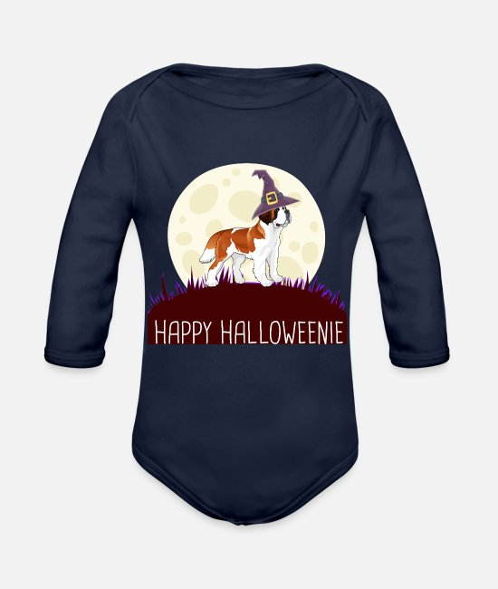 Saint-étienne Baby One Pieces - Saint Bernard Happy Halloweenie gift i - Organic Long-Sleeved Baby Bodysuit dark navy