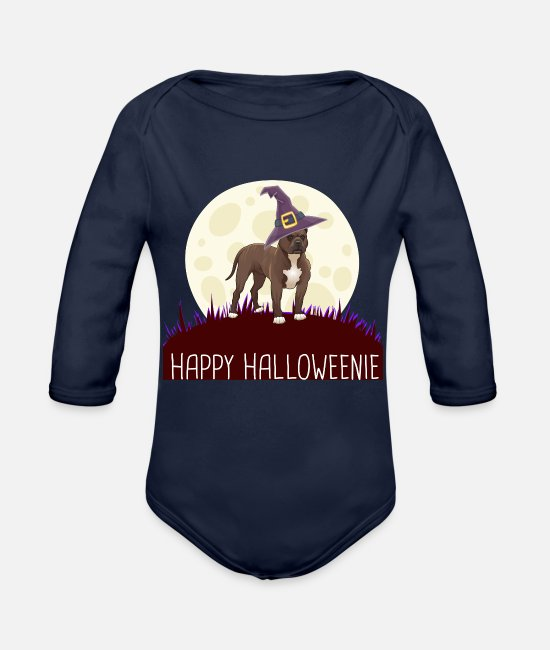 Quote Baby One Pieces - PITBULL Happy Halloweenie gift i - Organic Long-Sleeved Baby Bodysuit dark navy