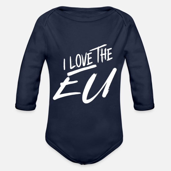 Eu Baby Clothing - I love the EU - Organic Long-Sleeved Baby Bodysuit dark navy
