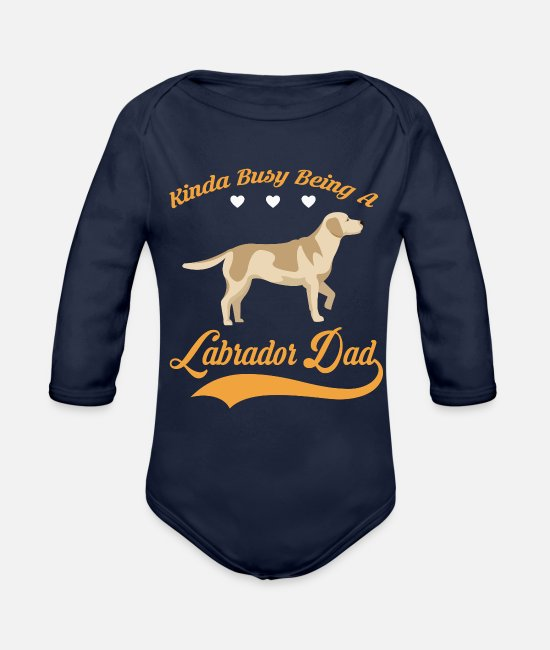 Dad To Be Baby One Pieces - Kinda busy being LABRADOR DAD - Organic Long-Sleeved Baby Bodysuit dark navy