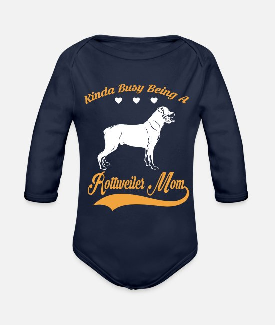 Quote Baby One Pieces - Kinda busy being ROTTWEILER MOM - Organic Long-Sleeved Baby Bodysuit dark navy