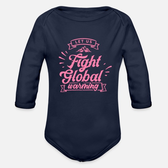 Climate Change Baby Clothing - Global Warming - Organic Long-Sleeved Baby Bodysuit dark navy