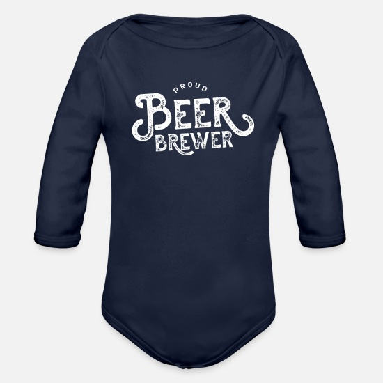 Brewery Baby Clothing - Job Brew Beers Brewery Beer Brewing Brewer - Organic Long-Sleeved Baby Bodysuit dark navy