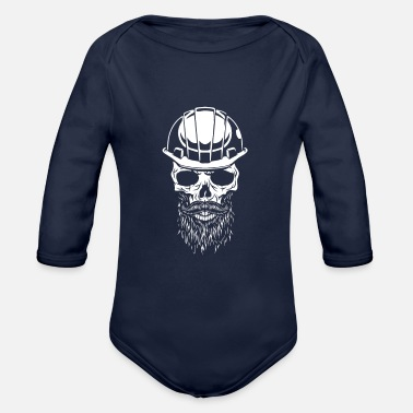 Safety Helmet Skull with safety helmet, construction worker - Organic Long-Sleeved Baby Bodysuit