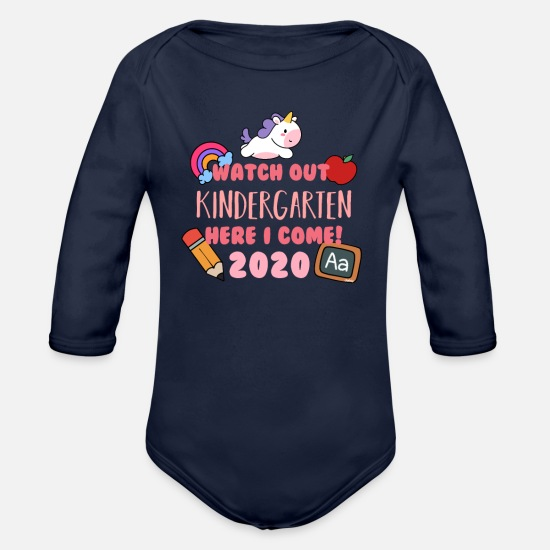 2020 Baby Clothing - Watch Out Kindergarten 2020 Unicorn - Organic Long-Sleeved Baby Bodysuit dark navy