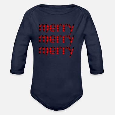 Merry Plaid Christmas Merry Merry Merry - Organic Long-Sleeved Baby Bodysuit