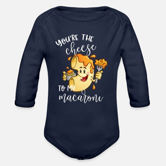 Macaroni Baby Clothing - You're The Cheese to My Macaroni Matching Couple - Organic Long-Sleeved Baby Bodysuit dark navy
